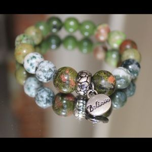 Jewelry - Bracelet- talisman.jasper, unacite, agate.
